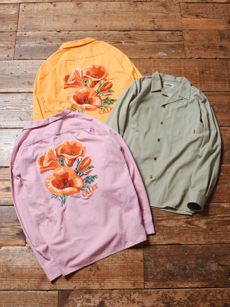 CALEE  「6OZ COLOR DENIM L/S EMBROIDERY SHIRT」  オープンカラーシャツ
