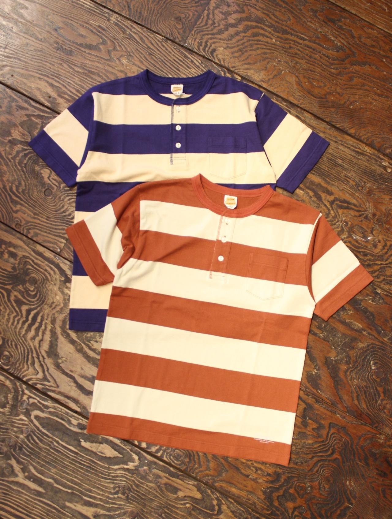 TROPHY CLOTHING  「Wide Border Henley Tee」 ボーダーヘンリーネックティーシャツ