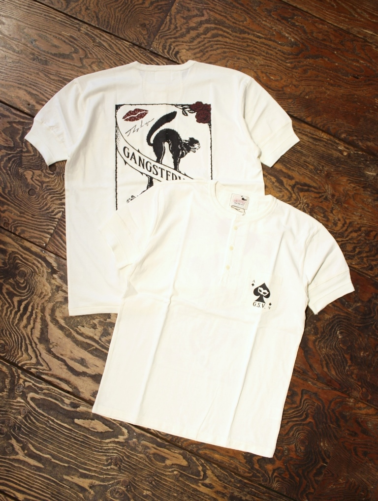 GANGSTERVILLE   「THUG CAT − S/S HENREY T-SHIRTS」  ポケットヘンリーネックティーシャツ