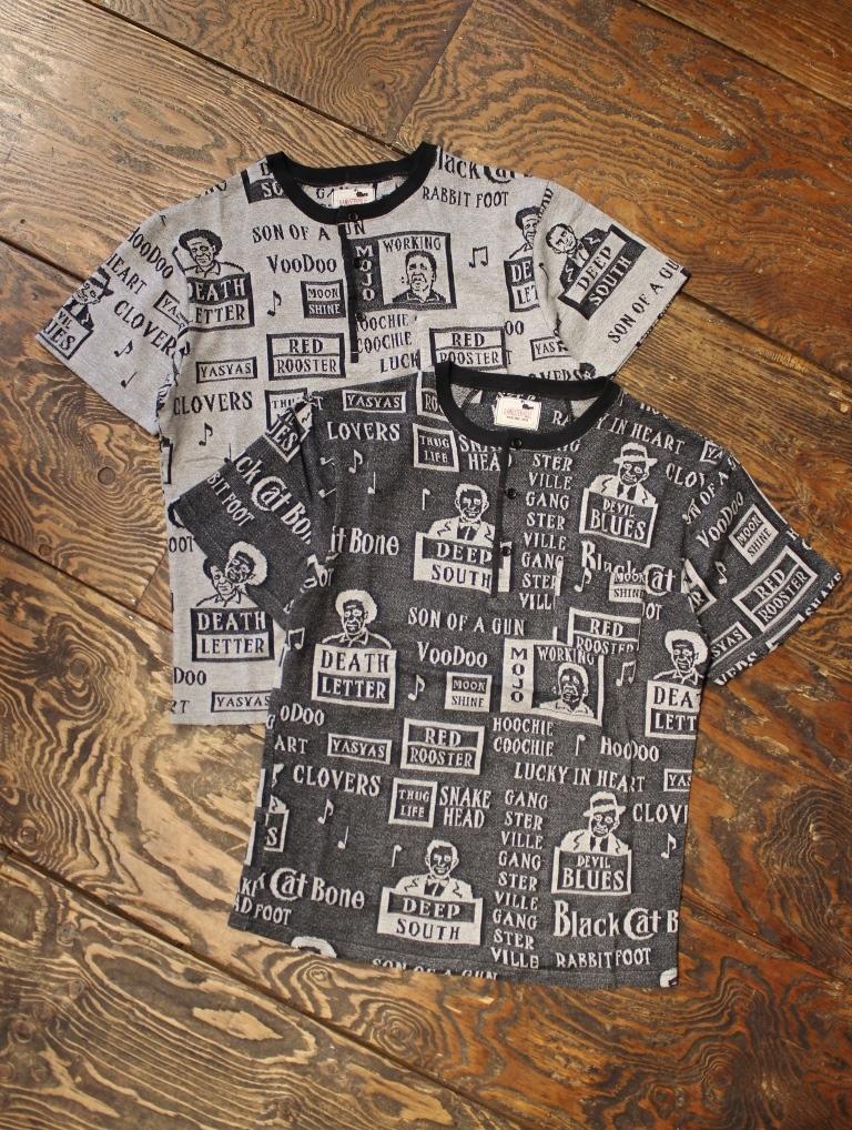 GANGSTERVILLE   「MOJO - S/S HENLEY NECK T-SHIRTS」  ジャガードティーシャツ