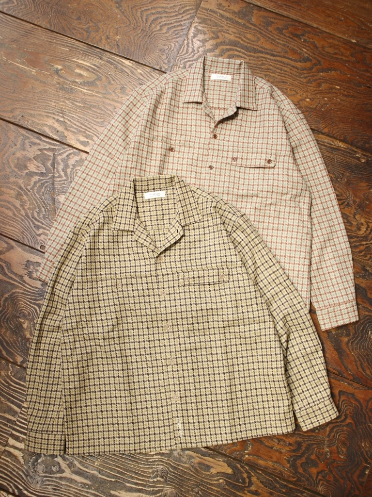 RADIALL  「IMPERIAL - OPEN COLLARED SHIRT L/S」  ウールチェックシャツ