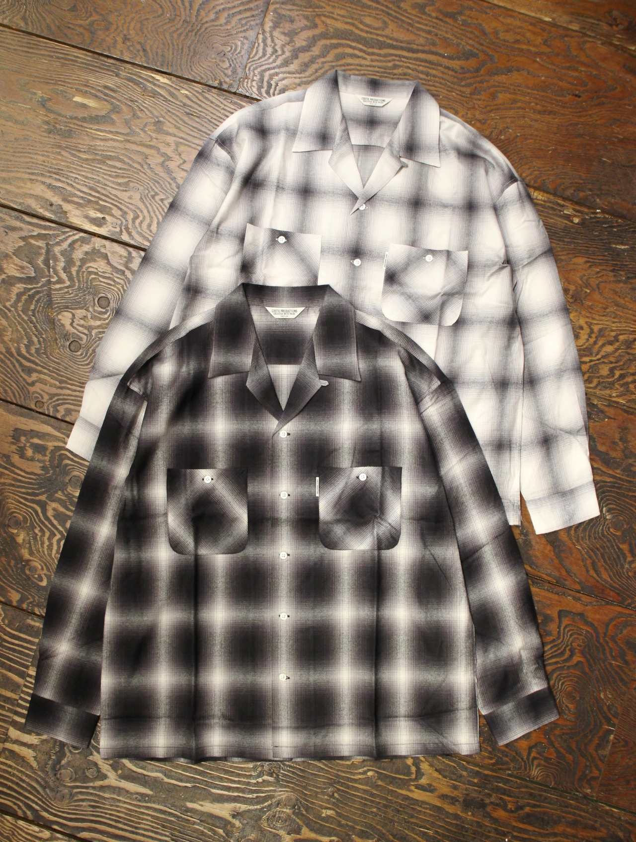 COOTIE  「Ombre Check Open-Neck L/S Shirt 」 オープンカラーチェックシャツ