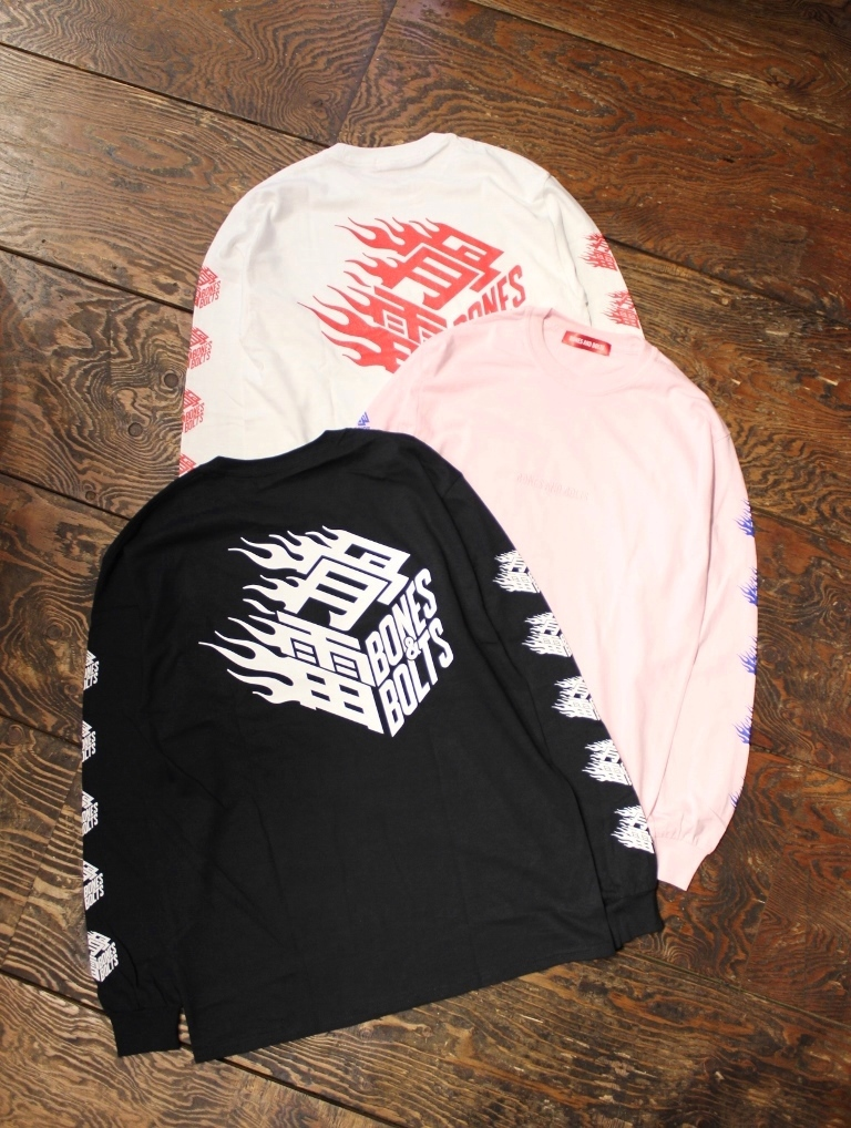BONES & BOLTS  「L/S TEE  (FLAMES BOX LOGO)」 ロングスリーブティーシャツ