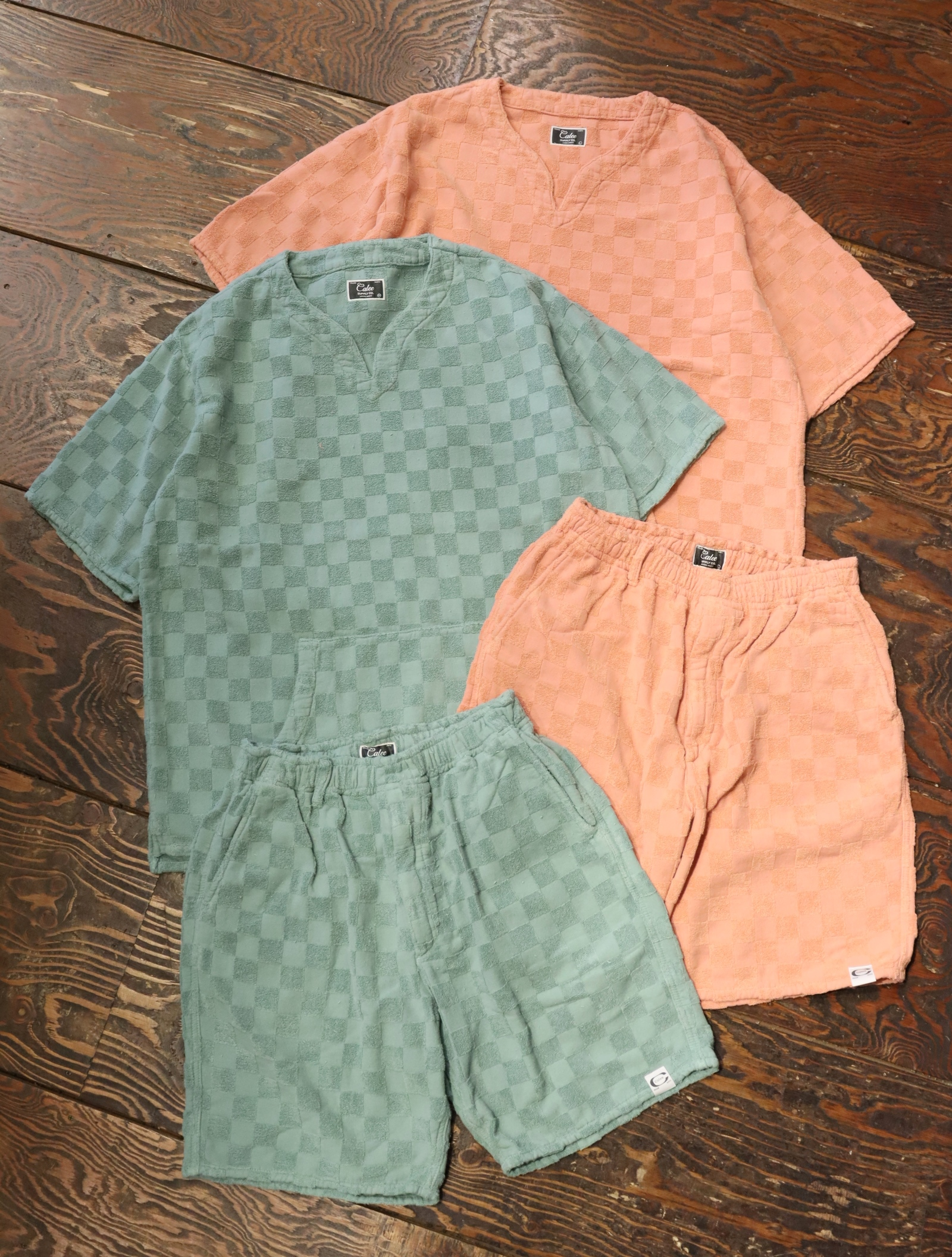 【Limited Item !!】 CALEE  「CHECKERED PATTERN KEY NECK PILE SET UP 」   パイルセットアップ