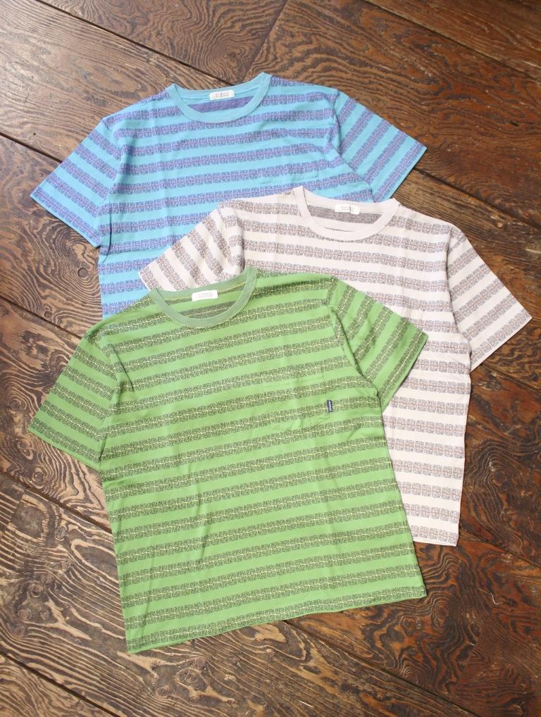 RADIALL  「COSMIC PINWHEEL - CREW NECK T-SHIRT」  ジャガードボーダーティーシャツ