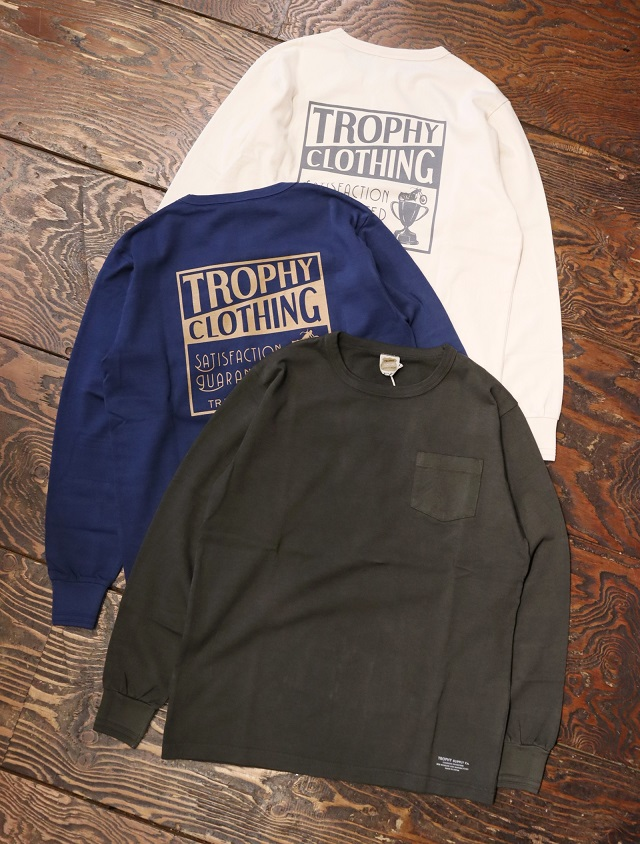 """TROPHY CLOTHING  「""""Box Logo"""" OD L/S Tee」  プリントロンティー"""