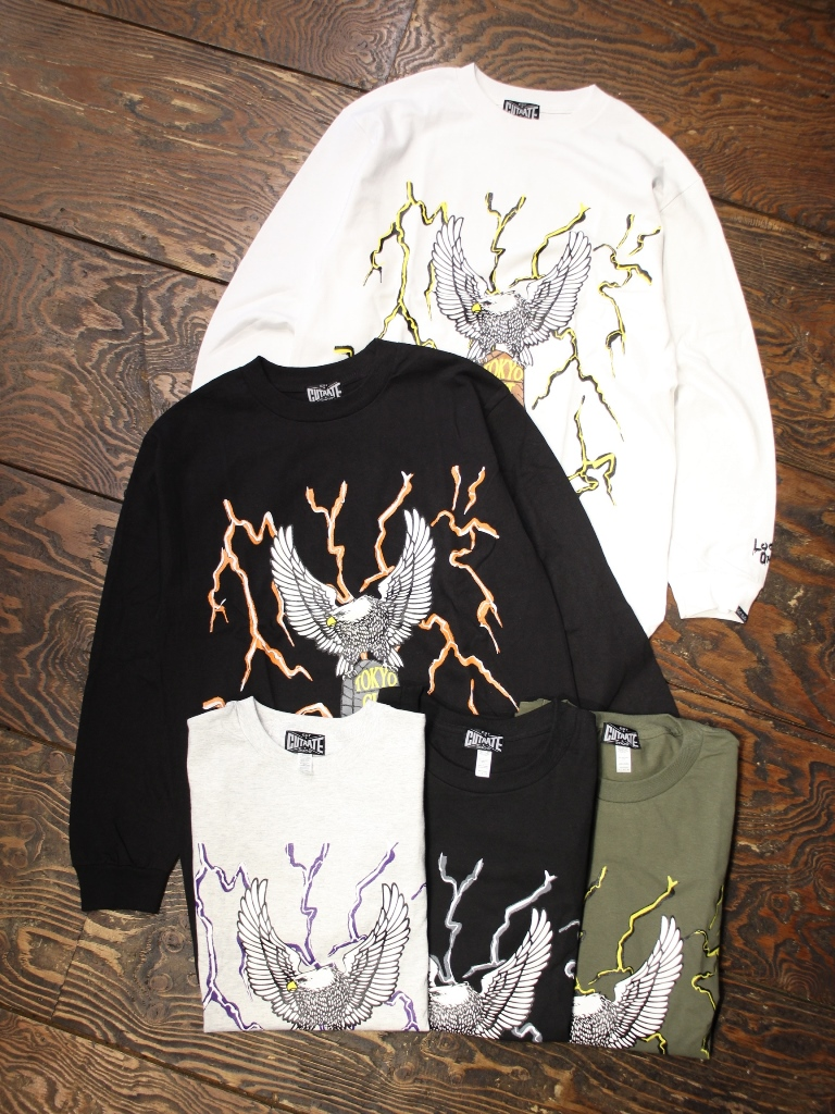 CUT RATE  「THUNDER & EAGLE L/S TSHIRT」 プリントロンティー