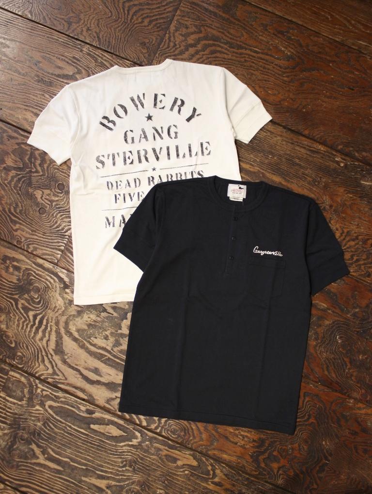 GANGSTERVILLE   「BOWERY − S/S HENREY T-SHIRTS」  ポケットヘンリーネックティーシャツ