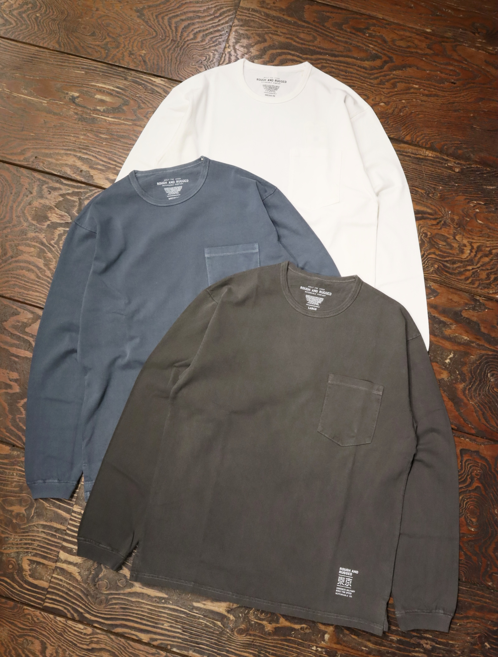 ROUGH AND RUGGED   「MIL LS」  ポケットロンティー