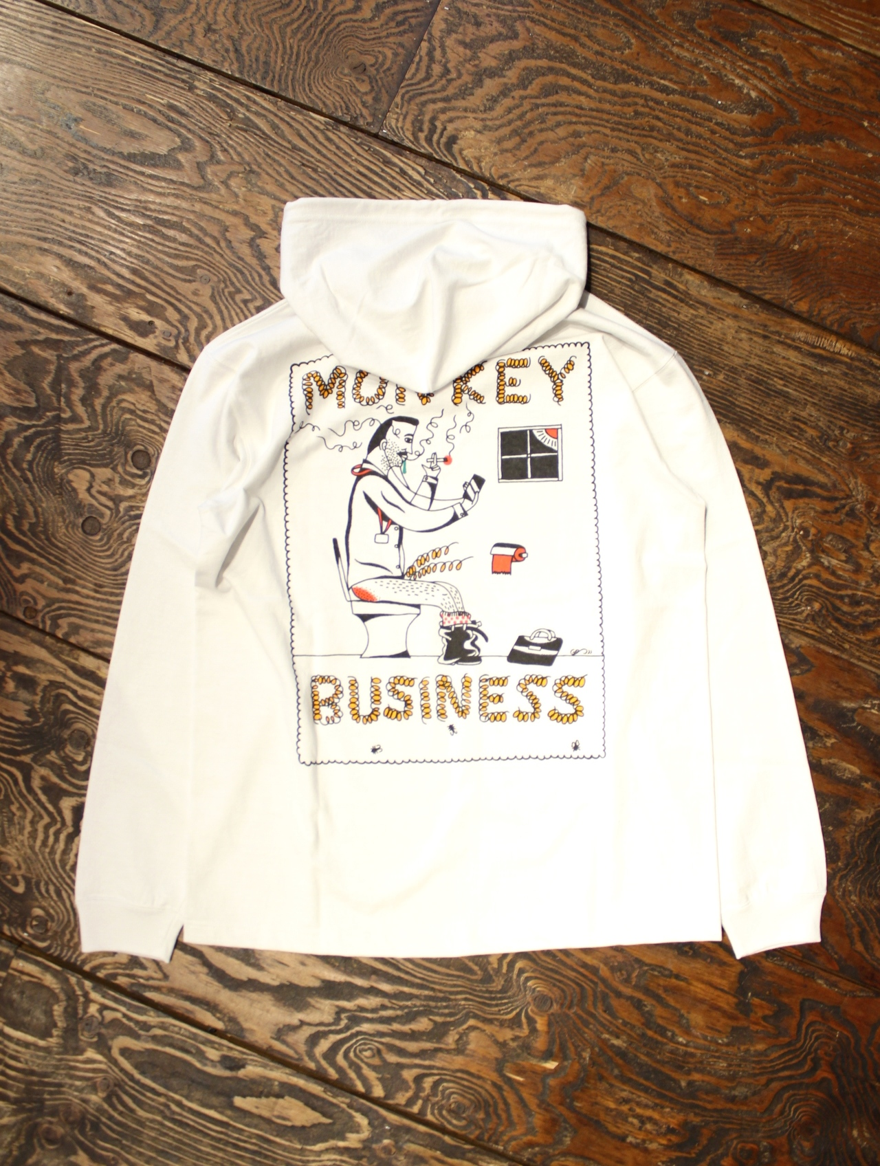 COOTIE  「 Hooded Print L/S Tee (MONKEY BUSINESS) 」  フーデットプリントロングスリーブティーシャツ