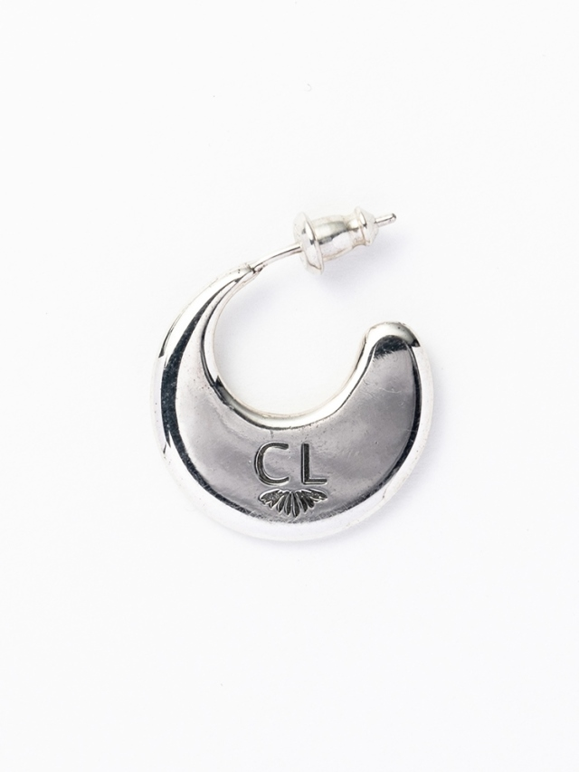 CALEE 「PLANE CRESCENT MOON PIERCE」 SILVER 925製 ロールタイプピアス