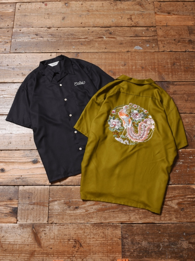 CALEE  「EMBROIDERY S/S RAYON SHIRT」 オープンカラーシャツ