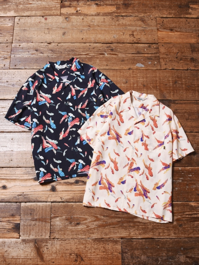 CALEE  「ALLOVER FEATHER PATTERN S/S SHIRT」 オープンカラーシャツ