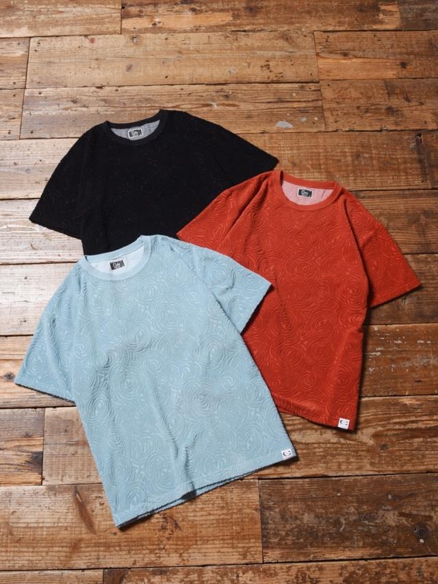 CALEE  「SPIRAL PATTERN PILE JACQUARD T-SHIRT 」    パイルジャガードティーシャツ