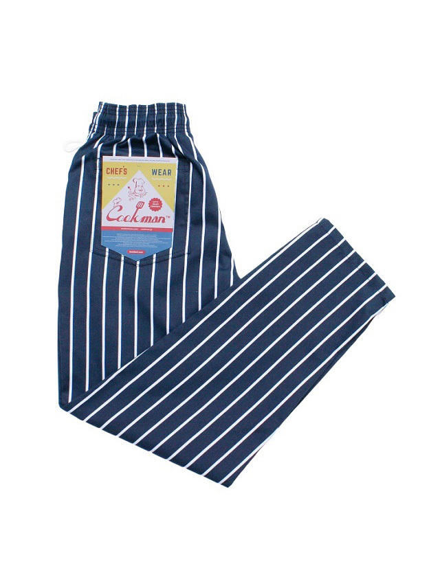COOKMAN 「Chef Pants Stripe T/C Navy」 シェフパンツ