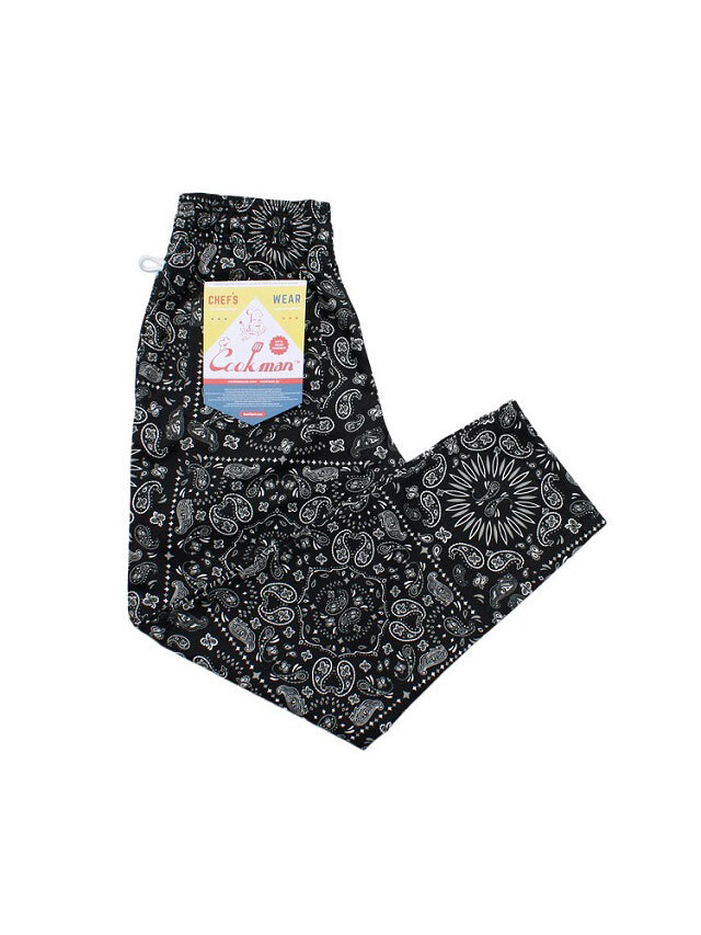 COOKMAN 「Chef Pants Paisley Black」 シェフパンツ