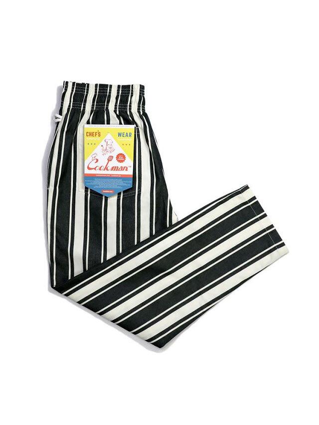 COOKMAN 「Chef Pants Awning Stripe Black」 シェフパンツ