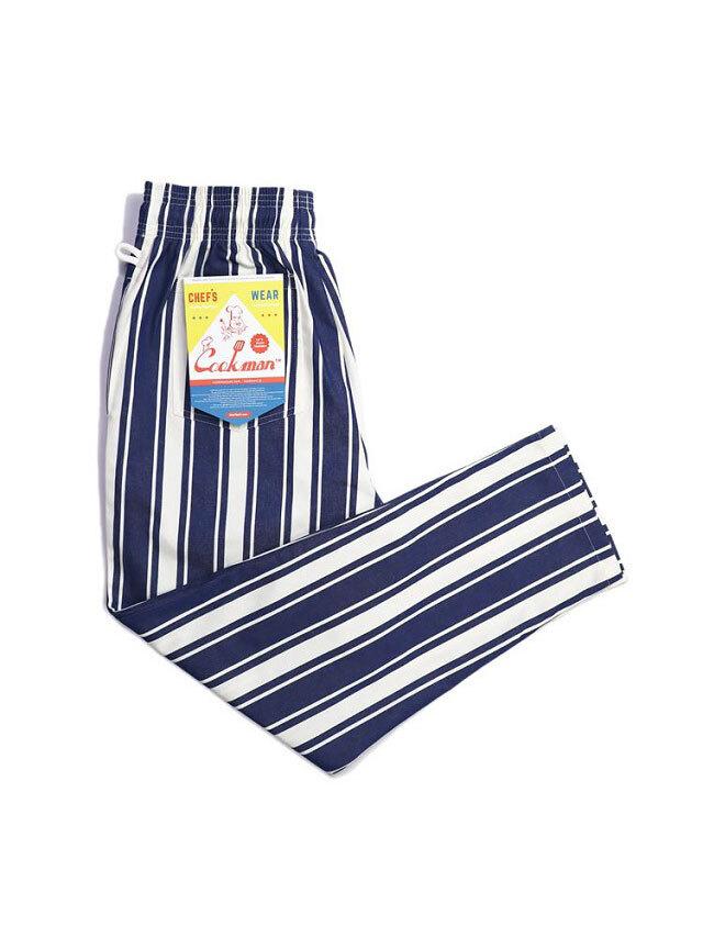 COOKMAN 「Chef Pants Awning Stripe Navy」 シェフパンツ