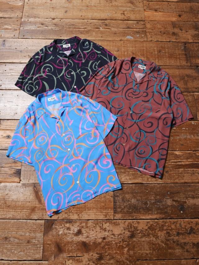 CALEE  「ALLOVER SPIRAL PATTERN S/S SHIRT」 オープンカラーレーヨンシャツ