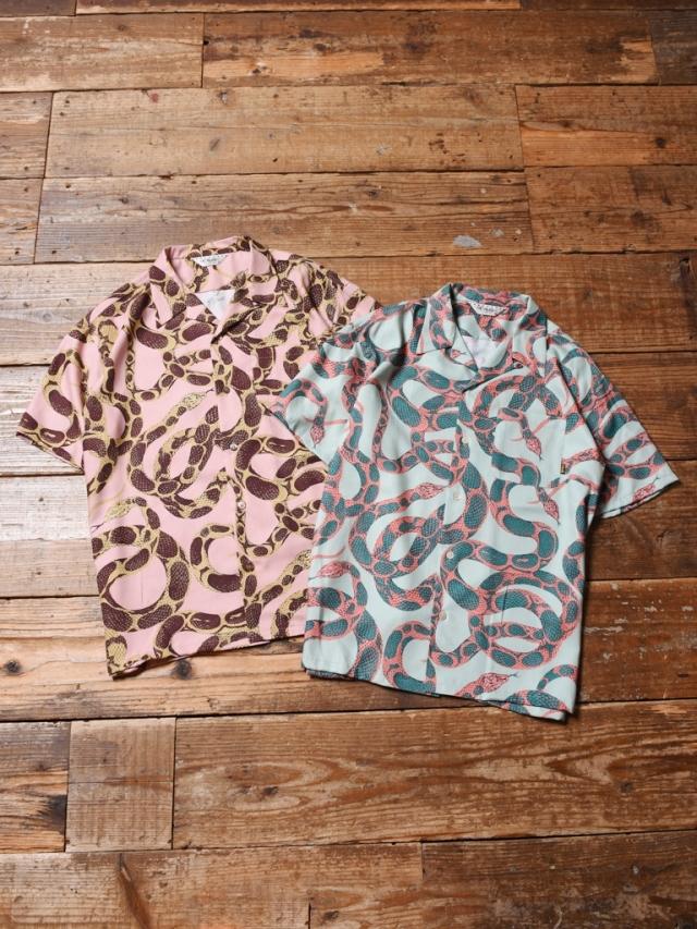 CALEE  「ALLOVER SNAKE PATTERN S/S SHIRT」 オープンカラーシャツ