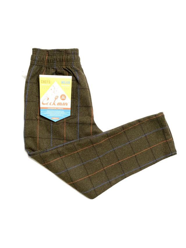 COOKMAN 「Chef Pants Wool Mix Check Olive Green」 シェフパンツ