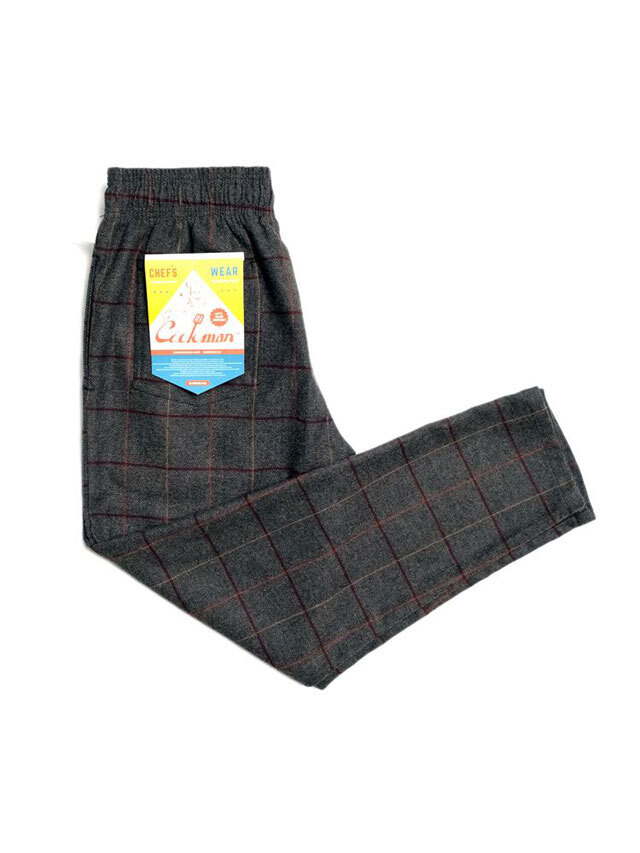 COOKMAN 「Chef Pants Wool Mix Check Gray」 シェフパンツ