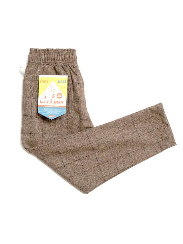 COOKMAN 「Chef Pants Wool Mix Check Brown」 シェフパンツ