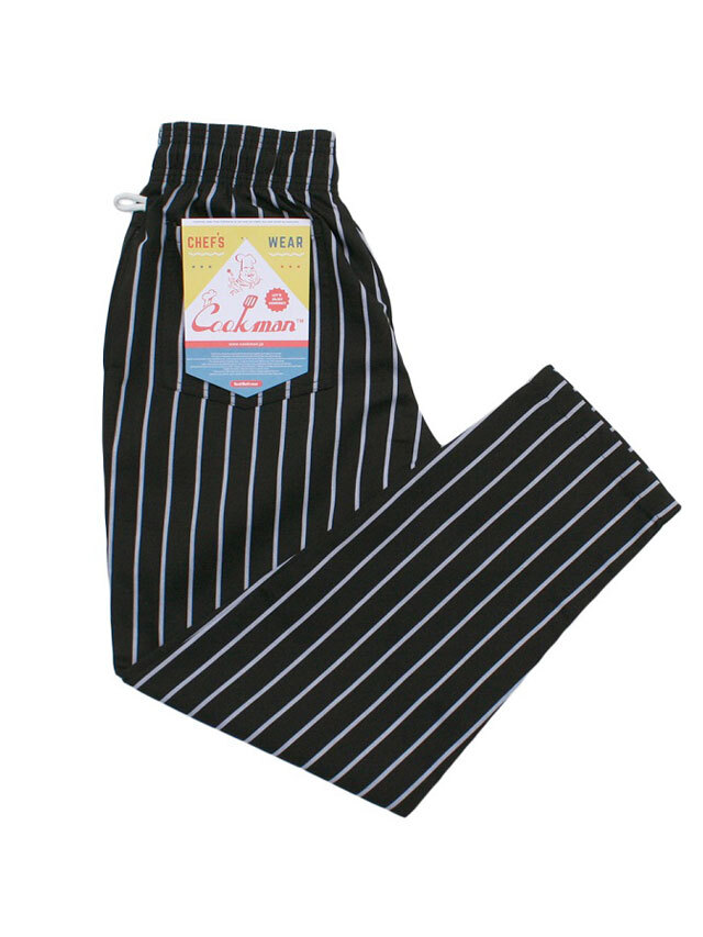 COOKMAN 「Chef Pants Stripe T/C Black」 シェフパンツ