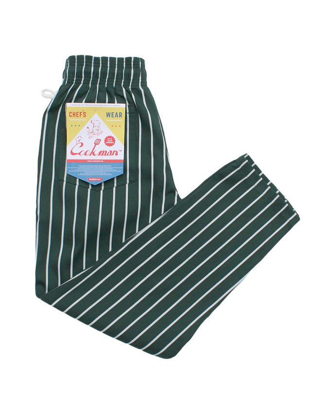 COOKMAN 「Chef Pants Stripe T/C D.Green」 シェフパンツ