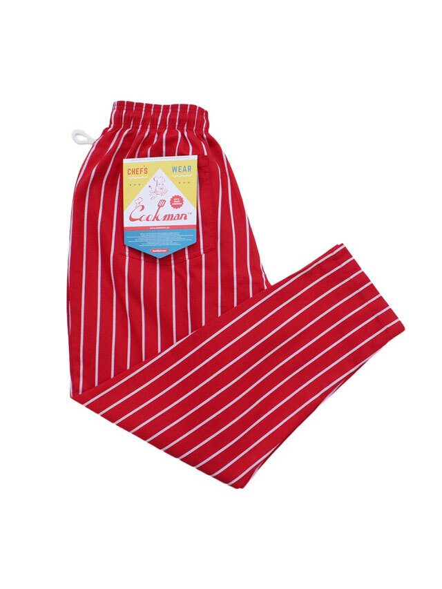 COOKMAN 「Chef Pants Stripe T/C Red」 シェフパンツ