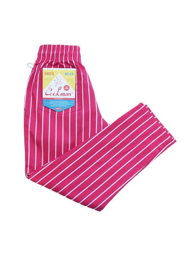 COOKMAN 「Chef Pants Stripe T/C Pink」 シェフパンツ