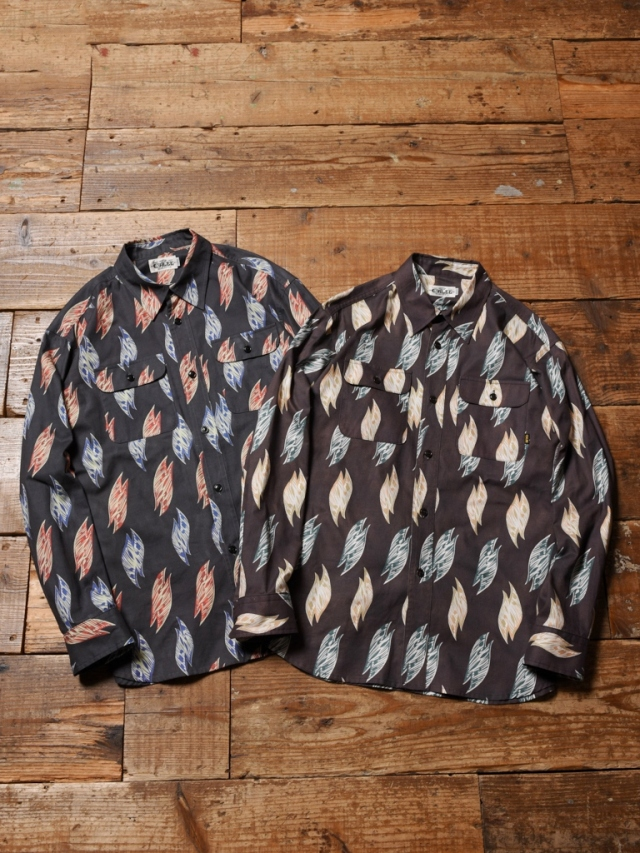 CALEE  「FALLEN LEAVES PATTERN L/S SHIRT」 レギュラーカラーシャツ