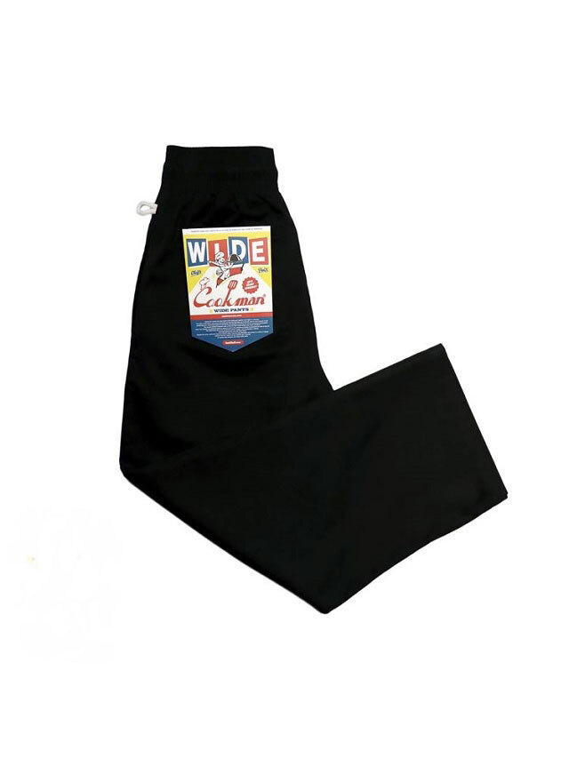 COOKMAN 「Wide Chef Pants Black」 ワイドシェフパンツ