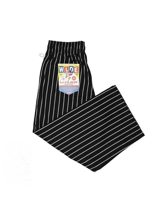 COOKMAN 「Wide Chef Pants Stripe Black」 ワイドシェフパンツ