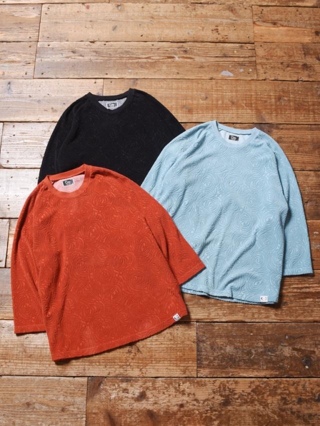 CALEE  「SPIRAL PATTERN PILE JACQUARD 3/4 RAGLAN SLEEVE T-SHIRT 」    パイルジャガード7分袖ティーシャツ
