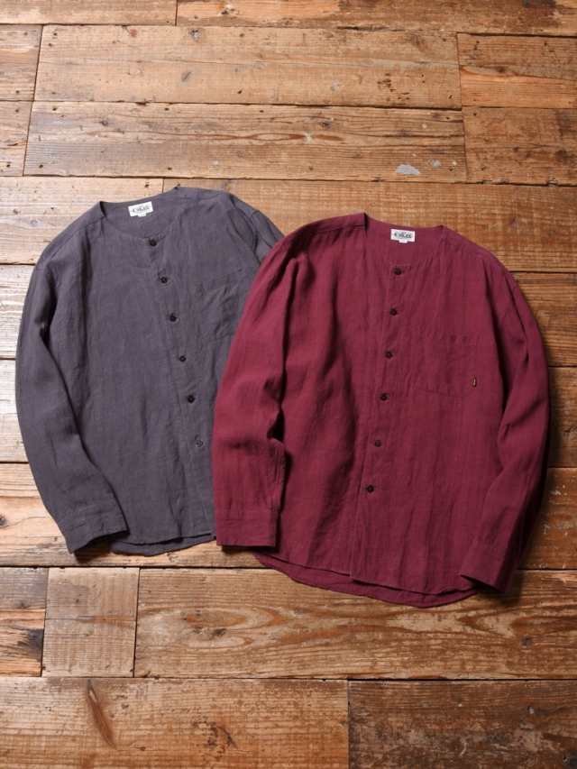 CALEE  「LINEN NO COLLAR L/S SHIRT」 ノーカラーリネンシャツ