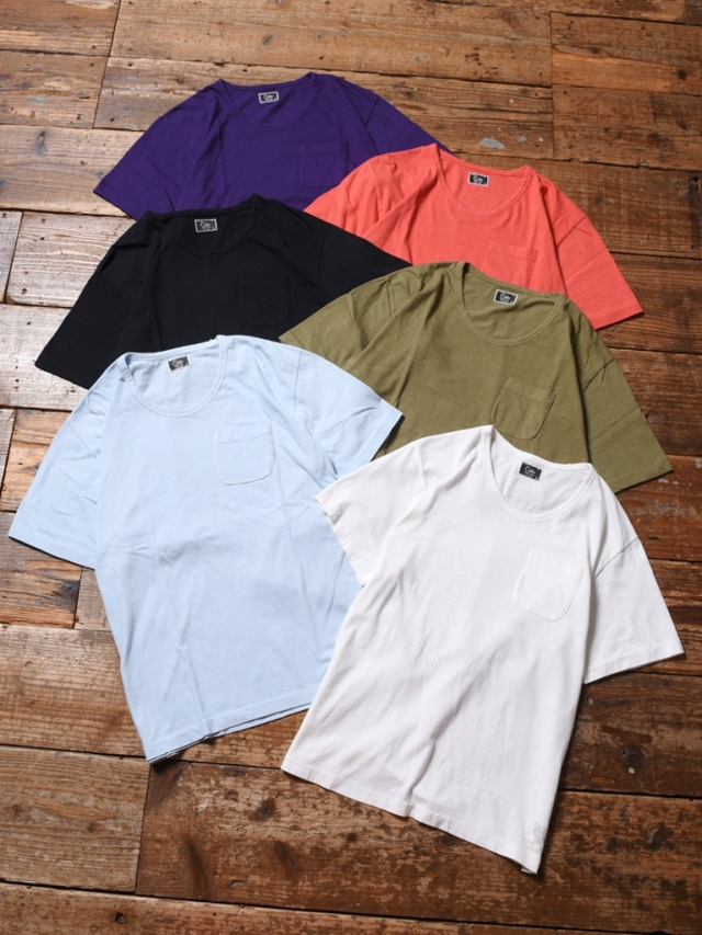 CALEE  「VINTAGE REPRODUCT KNITTED FABRIC U NECK T-SHIRT 」    Uネック ポケットティーシャツ