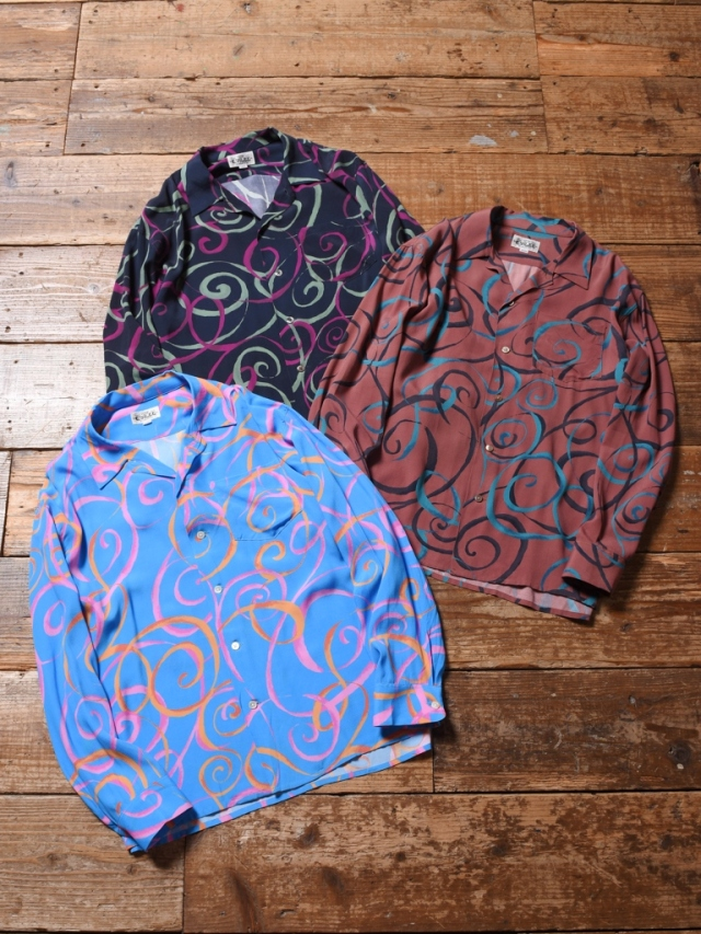 CALEE  「ALLOVER SPIRAL PATTERN L/S SHIRT」 オープンカラーレーヨンシャツ