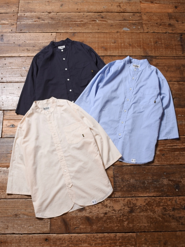 CALEE  「BAND COLLAR 3/4 SLEEVE TWILL SHIRT」 バンドカラー7分袖シャツ