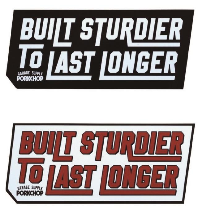 PORKCHOP GARAGE SUPPLY   「BUILT STURDIER STICKER 」  ステッカー