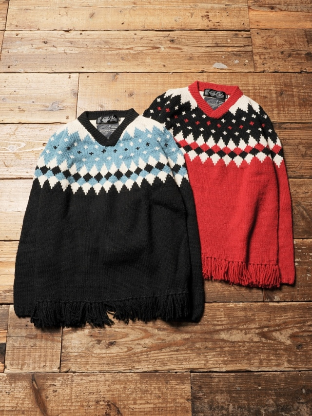 CALEE × ARTESANIA  「 V NECK FRINGE WOOL KNIT SWEATER  」 ブイネックフリンジセーター