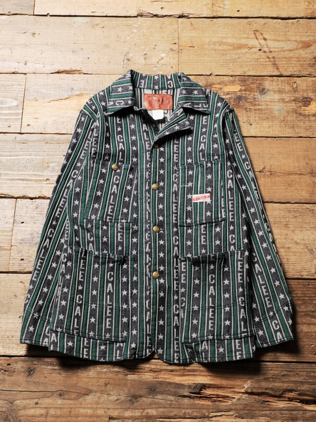 CALEE   「JAQUARD LOGO STRIPE DENIM COVERALL 」 ジャガードデニム カバーオール