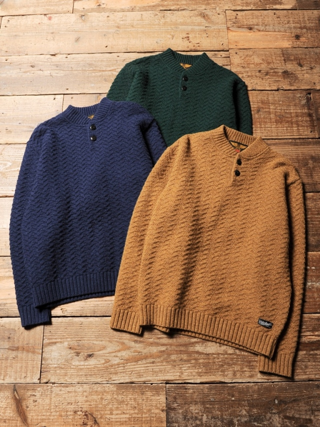 CALEE  「 HENLEY NECK HERRINGBONE KNIT SWEATER 」 ヘンリーネック ニットセーター
