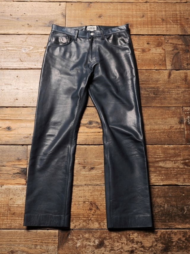 CALEE   「 INDIGO LEATHER FIVE POCKET LEATHER PANTS 」  INDIGO染めレザーパンツ