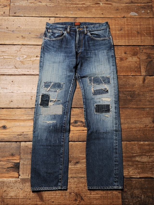 CALEE  「CRASH REPAIR TAPERED SLIM DENIM PANTS」 USED加工 テーパードスリムデニムパンツ