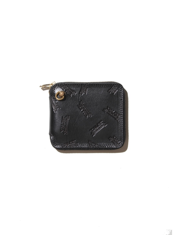 CALEE  「ALLOVER EMBOSSING LEATHER ROUND ZIP HARF WALLET」 レザーハーフウォレット
