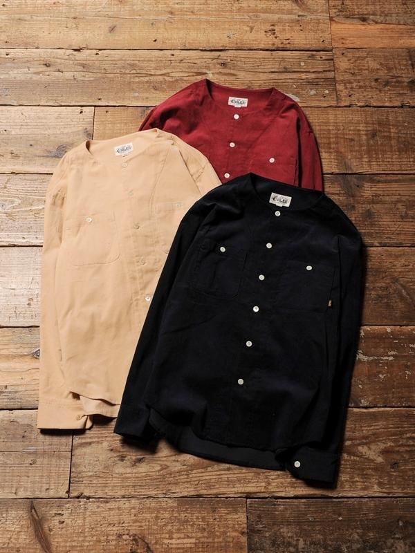 CALEE  「 NO COLLAR  L/S CORDUROY SHIRT」 ノーカラーコーデュロイシャツ
