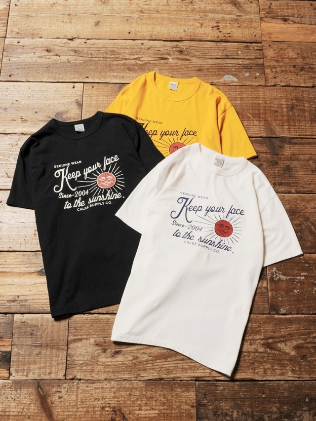CALEE  「WASHED SUNSHINE  T-SHIRT」 プリントティーシャツ