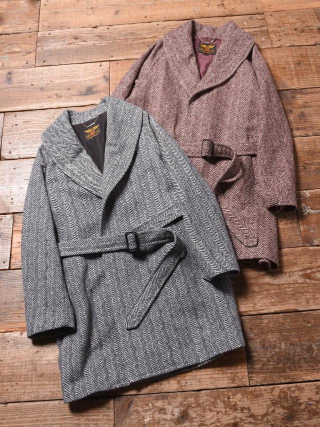 CALEE  「HERRINGBONE JACQUARD WOOL LONG COAT」   ジャガードウール ショールカラーコート