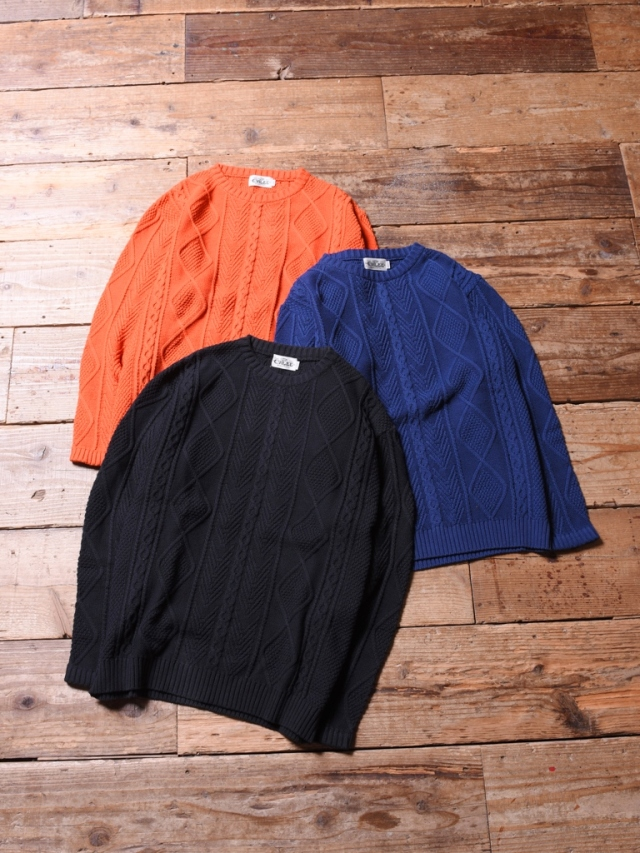 CALEE  「 CREW NECK CABLE KNIT SWEATER  」 コットンケーブルニットセーター